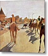 The Parade, Digitally Enhanced Highest Resolution,race Horses In Front Of The Tribune, Edgar Degas Metal Print
