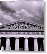 The Parthenon In Nashville Tennessee Black And White Metal Print