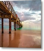 The Pastel Sky And The Jetty Metal Print