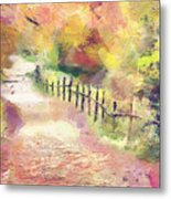 The Path In Autumn Metal Print