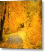 The Pathway Of Fallen Leaves Metal Print