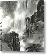 The Pavilion Appreciates The Waterfall Metal Print