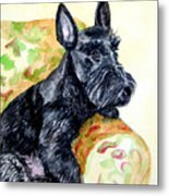 The Perfect Guest - Scottish Terrier Metal Print by Lyn Cook