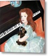 The Pianist And Her Pekinese Metal Print