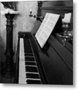 The Piano - Black And White Metal Print