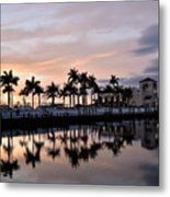 Reflecting Palms At The Pier 22 Metal Print