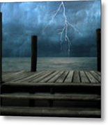 The Pier And The Storm Metal Print