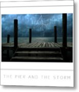 The Pier And The Storm Poster Metal Print