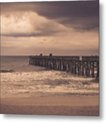 The Pier Before The Storm Metal Print