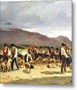 The Pig Market Metal Print by Pierre Edmond Alexandre Hedouin