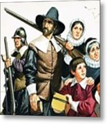 The Pilgrim Fathers Arrive In America Metal Print