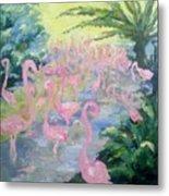 The Pink Pond Of Flamingos Metal Print