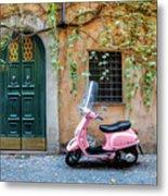 The Pink Vespa Metal Print