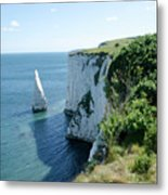 The Pinnacle Stack Of White Chalk From The Cliffs Of The Isle Of Purbeck Dorset England Uk Metal Print by Andy Smy