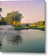 The Pond Fountain Metal Print
