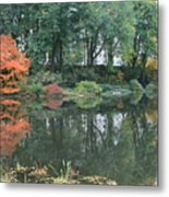 The Pond In Central Park In Fall Metal Print