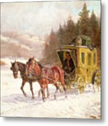 The Post Coach In The Snow Metal Print by Fritz van der Venne