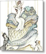 The Princess And The Pea, Illustration For Classic Fairy Tale Metal Print