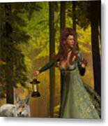 The Princess And The Wolf Metal Print by Emma Alvarez