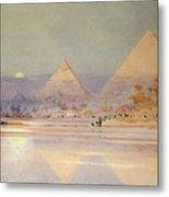 The Pyramids At Dusk Metal Print by Augustus Osborne Lamplough
