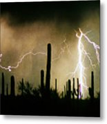 The Quiet Southwest Desert Lightning Storm Metal Print