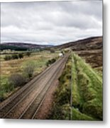 The Railroad To....in Scotland With Clouds Hanging Over The Mountains. Metal Print