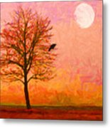 The Raven And The Moon Metal Print by Wingsdomain Art and Photography