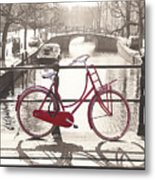 The Red Bicycle Of Amsterdam Metal Print