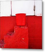 The Red Bucket Metal Print