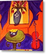 The Red Cello Metal Print