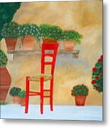 The Red Chair, Tuscany Metal Print