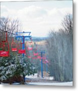 The Red Chairlift Metal Print