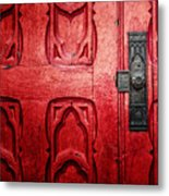 The Red Church Door Metal Print