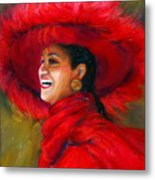 The Red Hat Metal Print by Billie Colson