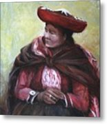 The Red Shawl  Metal Print