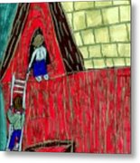 The Red Shed Club House That Dad Built Metal Print