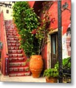 The Red Staircase Metal Print by Michael Garyet