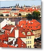 The Red Tile Roofs Of Prague Metal Print