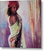 The Red Turban Metal Print