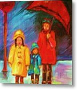 The Red Umbrella Metal Print