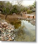The Reflection By The Bench Metal Print