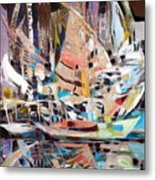 The Reflection Of Boats Metal Print by Therese AbouNader