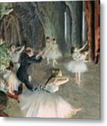The Rehearsal Of The Ballet On Stage Metal Print by Edgar Degas