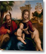 The Rest On The Flight Into Egypt With St. John The Baptist Metal Print