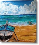 The Resting Boat And The Beach Holidays Metal Print