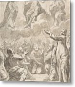 The Risen Christ Between The Virgin And St. Joseph Appearing To St. Peter And Other Apostles Metal Print