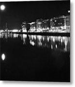 The River Liffey Night Romance Bw Metal Print