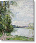 The Riverside Road From Veneux To Thomery Metal Print