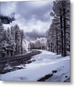 The Road To Snow Metal Print