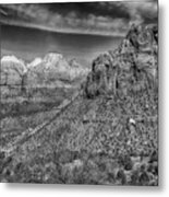 The Road To The Tunnel Bw Metal Print